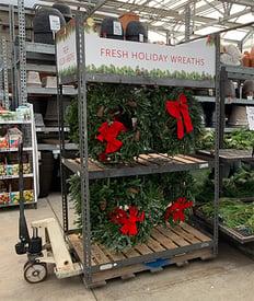Retail Display Rack Example Image - Seasonal Wreaths